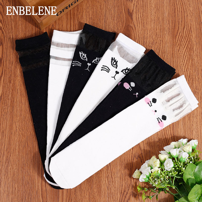 2018 Autumn Baby Girls Lace Knee Socks For Children Cotton Cartoon Cat Black White Striped Little Kids Long Calf Sock CA004