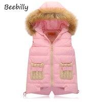 Girls Vests Children S Down Warm Vest Girl Fashion Waistcoat High Quality Kids Faux Fur Collar