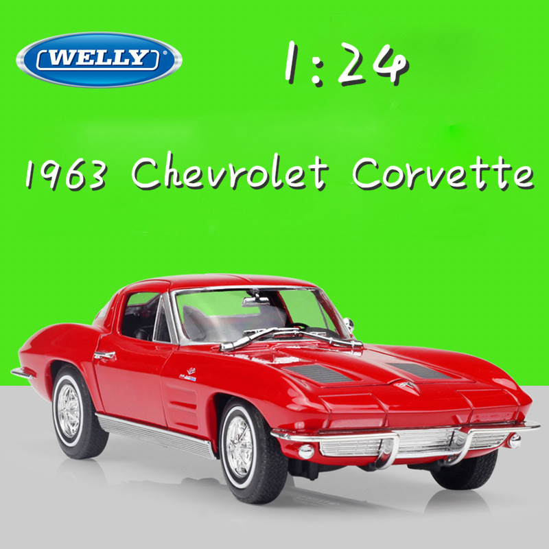 WELLY 1:24 Scale Model Car 1963 Chevrolet Corvette Diecast Toy Car Metal Classic Alloy Cars Toy For Children Gifts Collection new year gift 1957 corvette 1 18 big metal classic car vehicle scale model collection alloy luxury delicate present toys diecast