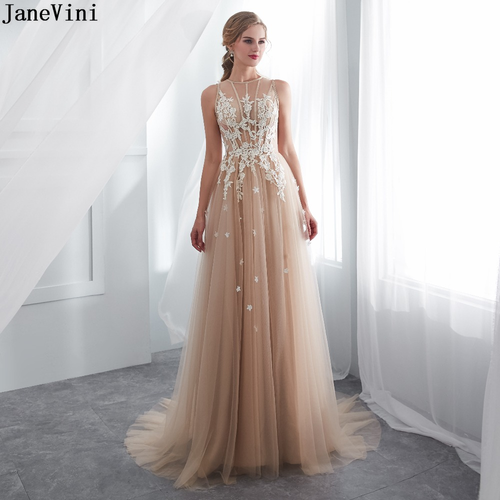 JaneVini Elegant Champagne Tulle Long   Bridesmaid     Dresses   Lace Applique Sheer Back A Line Plus Size Formal Prom   Dress   Sweep Train