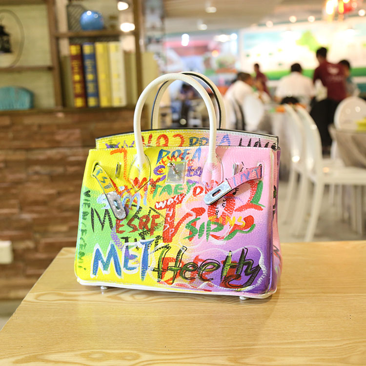 2016 HIgh Quality Handmade graffiti Europe America Colorful handmade platinum package buckle handbags leather hand shoulder bag 2016 fashion graffiti printed high quality pu leather handbag platinum package buckle handbag with multicolored print large bag