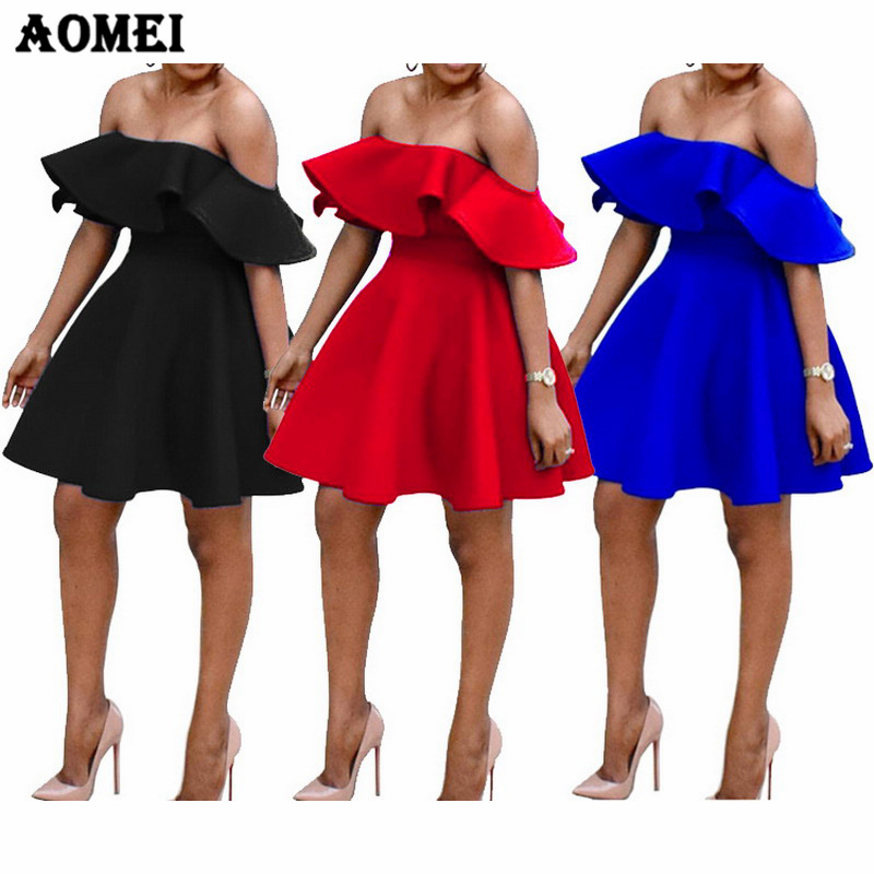 8baecaf1777 Ruffle Off Shoulder Dress Party Evening Clubwear Backless Blue Red Black  Sexy Vestido Fashionable Summer Dresses Women Clothing-in Dresses from  Women s ...