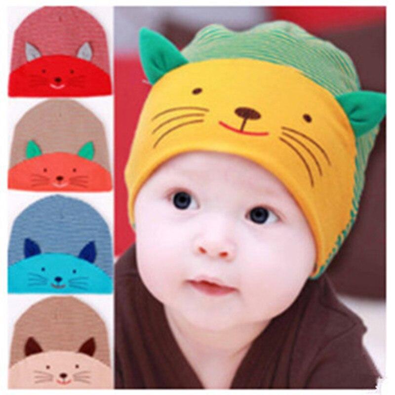 c1501f35bd4 2017 Winter Cute Newborn Baby Boy Infant Stripe Beanies Cotton Baby Caps  Lovely Cat Beanies Infant Hats