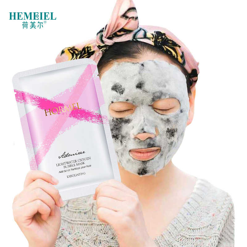 HEMEIEL Detox Oxygen Bubble Sheet Mask Korean Cosmetic Moisturizing Bamboo Charcoal Black Face Mask Facial Whitening Skin Care