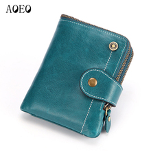 AOEO Women Purse Elegant With Round Zipper And Hasp Genuine Leather Ladies Wallet Good Quality Womens Wallets Purses Female