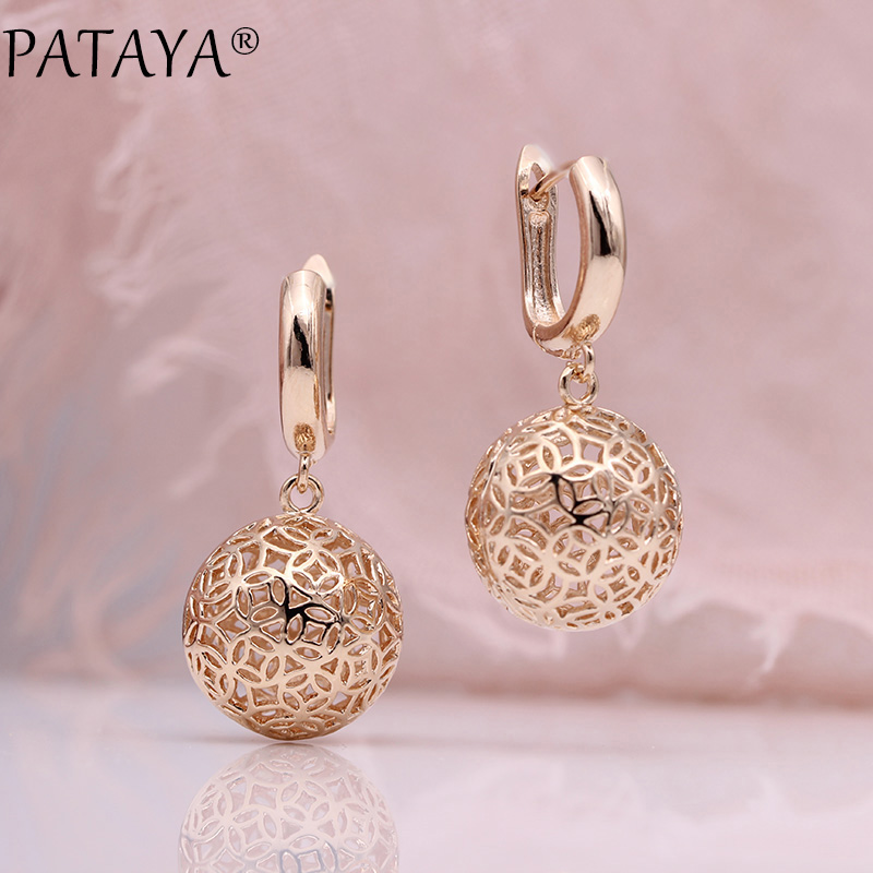 PATAYA New Cute Earring Unique Carved Hollow 585 Rose Gold Long Dangle Earrings Women Fashion Wedding Party Fine Trendy Jewelry