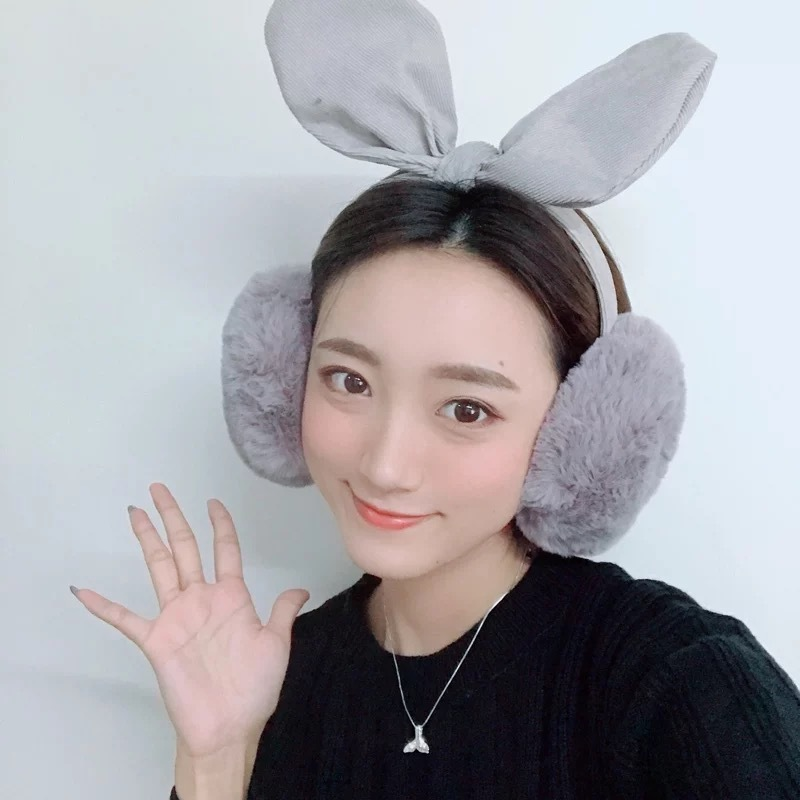 2019 Autumn Winter Oversized Bow Earmuffs Foldable Warm Rabbit Ears Sweet Plush Women Girls Earmuffs Christmas Gifts PS-31