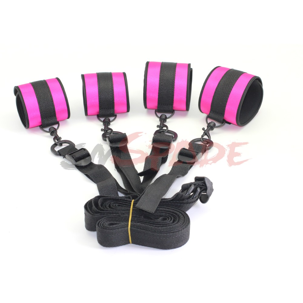 Bed Restraints Kit Under Bed Bondage Eye Mask Blindfolds Soft Wrist and Ankle Handcuffs with Restraint Straps Rope for Couples Sex-RED