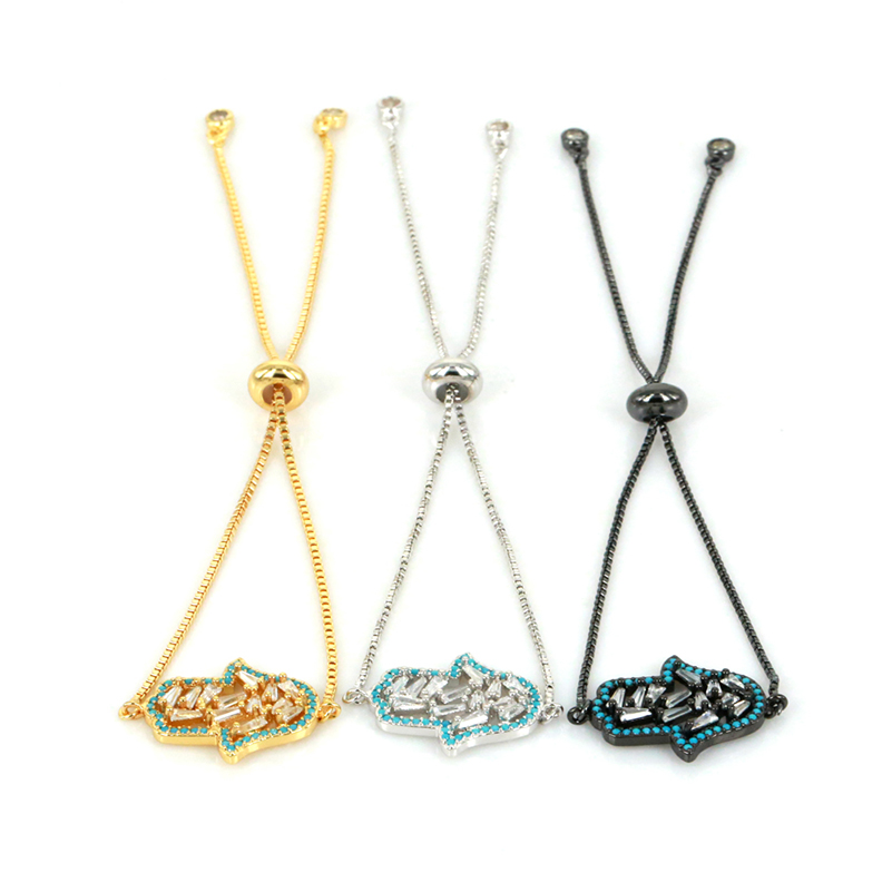 Dankaishi Brand Special Crystal Hamsa Bracelet Men Women Jewelry CZ Zircon Charm Link Bracelets Chain Pulseira Masculina