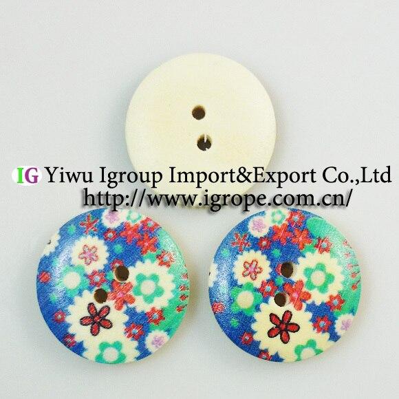 Ξ35 unids 23mm pintura botones de madera del patrón de flor cubren ...