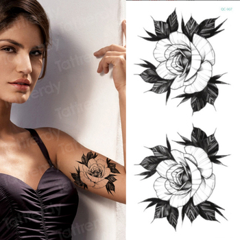temporary tattoo sticker flower peony rose sketches tattoo designs sexy girls model tattoos arm leg black henna stickers women 2