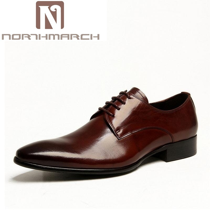 NORTHMARCH Wedding Genuine Leather Mens Shoes Red Brown Fashion Italian Male Shoes Men Business Oxford Zapatos De Charol Hombre цена