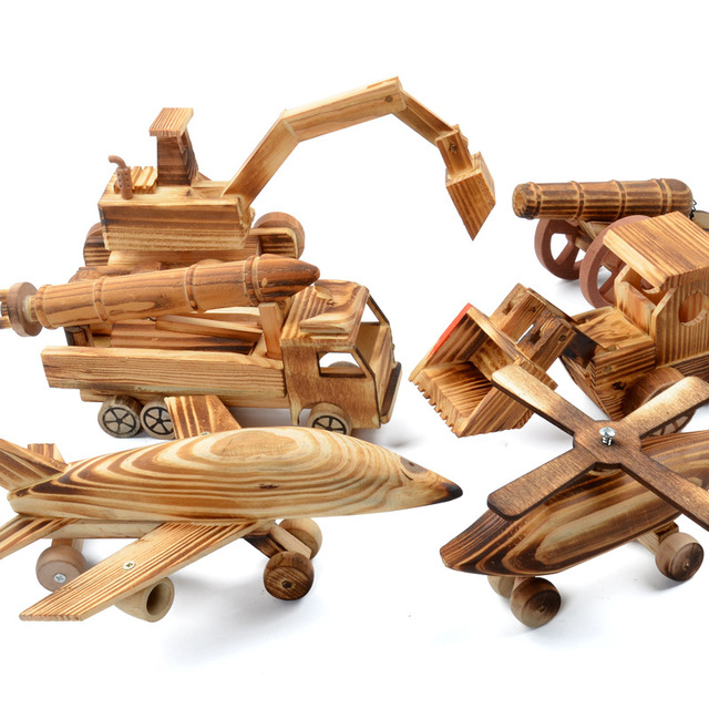 Us 607 5 Offnew Hot Creative Wooden Roller Excavator Artillery Bulldozer Model Wooden Car Model Crafts Gifts Educational Toy For Children In