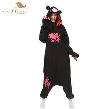 Pyjamas Women Bear Onesie for adults sleep lounge pajamas Violence Bear Sleepwear Flannel Animal Pajamas one piece OS0020