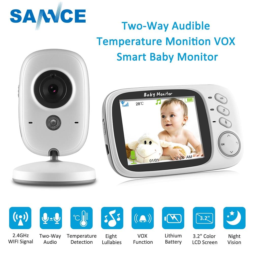 SANNCE 3,2 pulgadas Video Baby Monitor Color 2 manera hablar bebé niñera cámara de seguridad visión nocturna temperatura