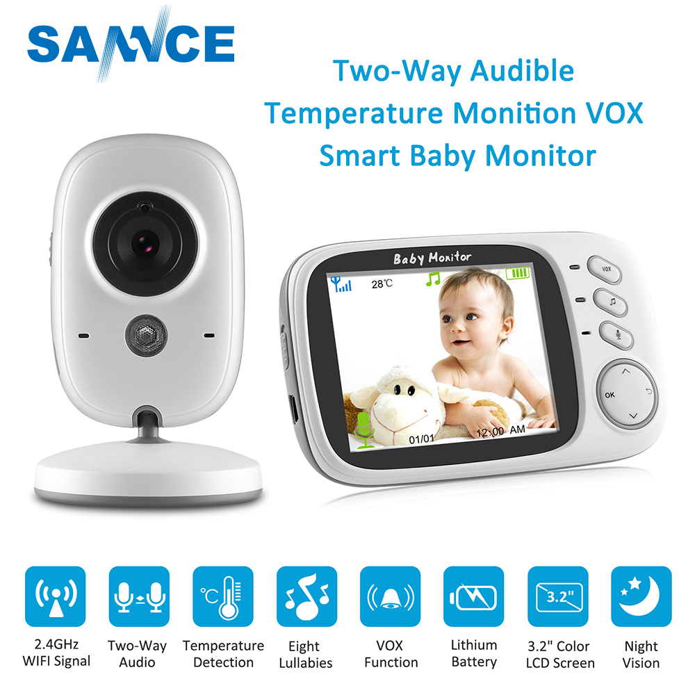 SANNCE 3,2 pulgadas Video inalámbrico Color Monitor de bebé 2 hablar bebé niñera de seguridad cámara de visión nocturna de control de la temperatura