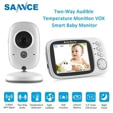 Sannce babá eletrônica 3.2 polegadas, câmera de vídeo colorida sem fio para monitorar temperatura, de 2 formas de fala, segurança com visão noturna