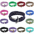 Charms trendy men jewelry copper alloy anchor hook letter hope multi colors nylon rope pink adjustable unisex macrame Bracelet