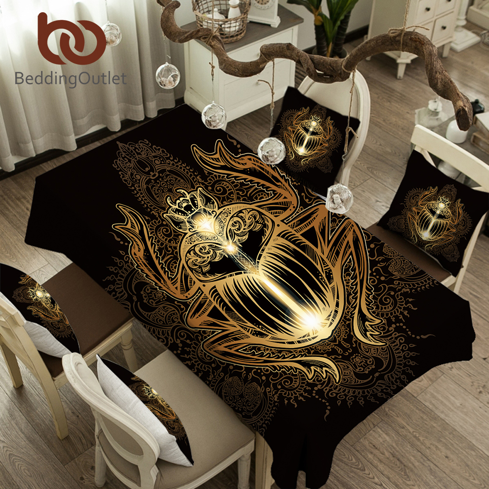 Beddingoutlet golden beetle tablecloth insect waterproof table cloth for dining room paisley boho print table cover 5 sizes