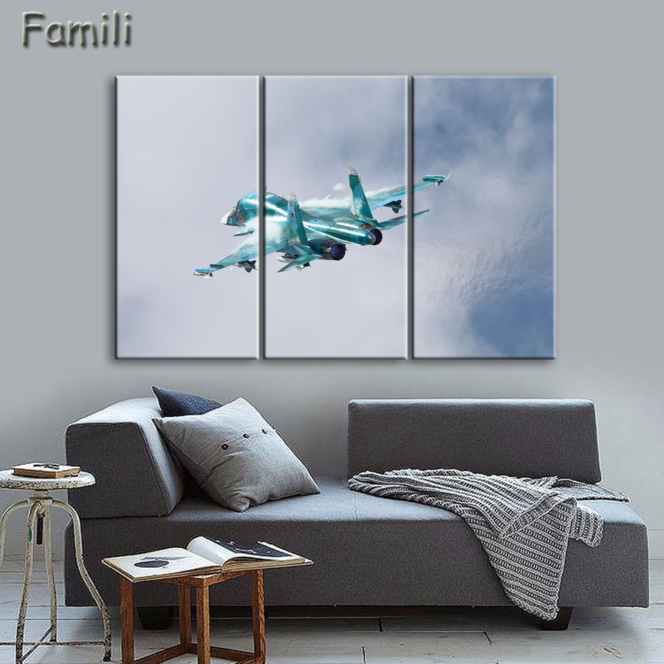 3 pieces painting fighter airplane aircraft model wall art for Airplane cockpit wall mural