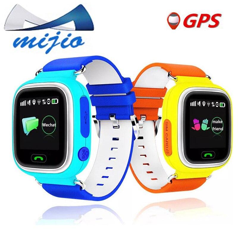 imágenes para Bebé inteligente reloj teléfono Q90 táctil WIFI pantalla de Llamada SOS GPS tracker para Niños Seguro Anti-Pérdida de alarma del aviso PK Q80 Q100 niño reloj