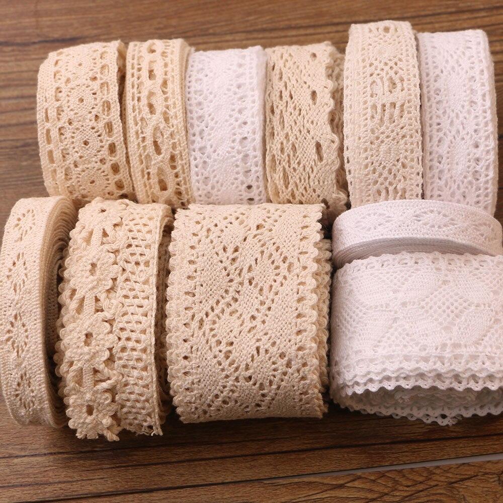 5Yards 1-5CM Beige Weiß 5Yards DIY Handgemachte Hochzeit Partei Handwerk Geschenk Verpackung Patchwork Baumwolle Gehäkelte spitze Band