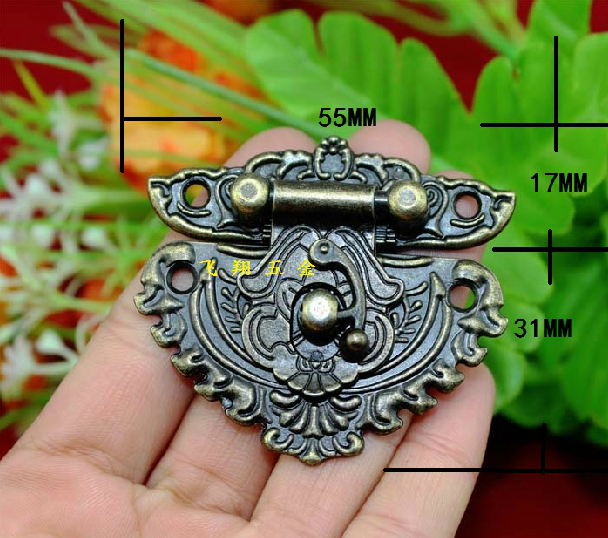 20Pcs Antique wooden wine box hasp lock buckle alloy drawer hinge decorative buckle safety clasp buckle