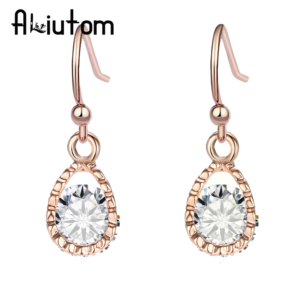 ALIUTOM New Fashion Boutique Crystal Dangle Earrings Gold Color And Silver Color Earrings For Women Accessories