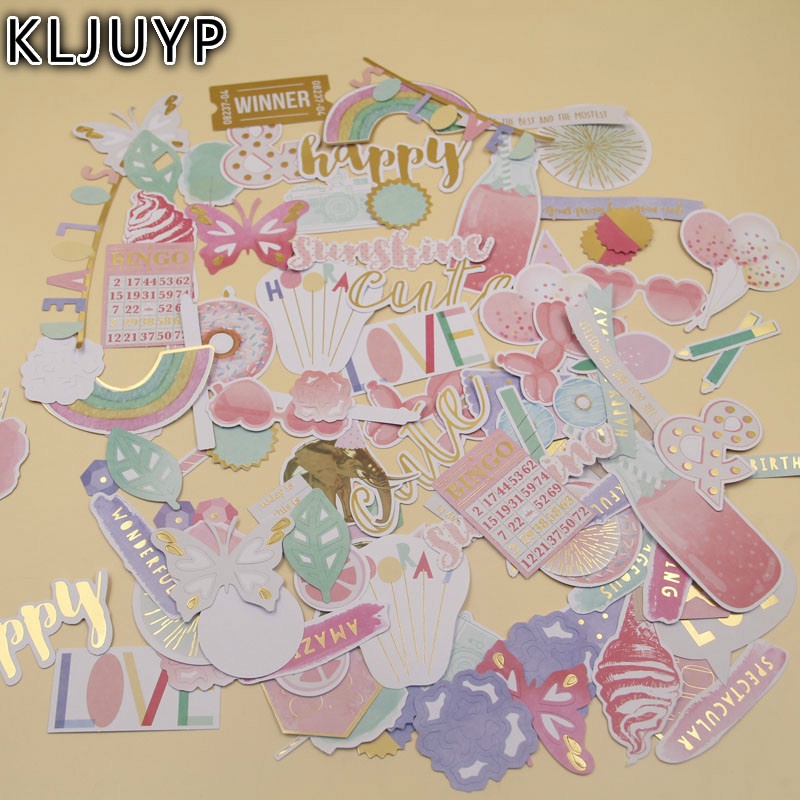 KLJUYP 118pcs Happy Sunshine Cardstock Die Cuts for Scrapbooking Happy Planner/Card Making/Journaling Project