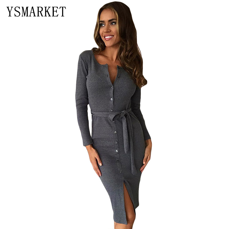 29273e9fa0 Sexy Gray Party Women Short Dresses Long Sleeve Solid Black Down Button up  Ribbed Midi Cardigan Split Dress With Sash Belt