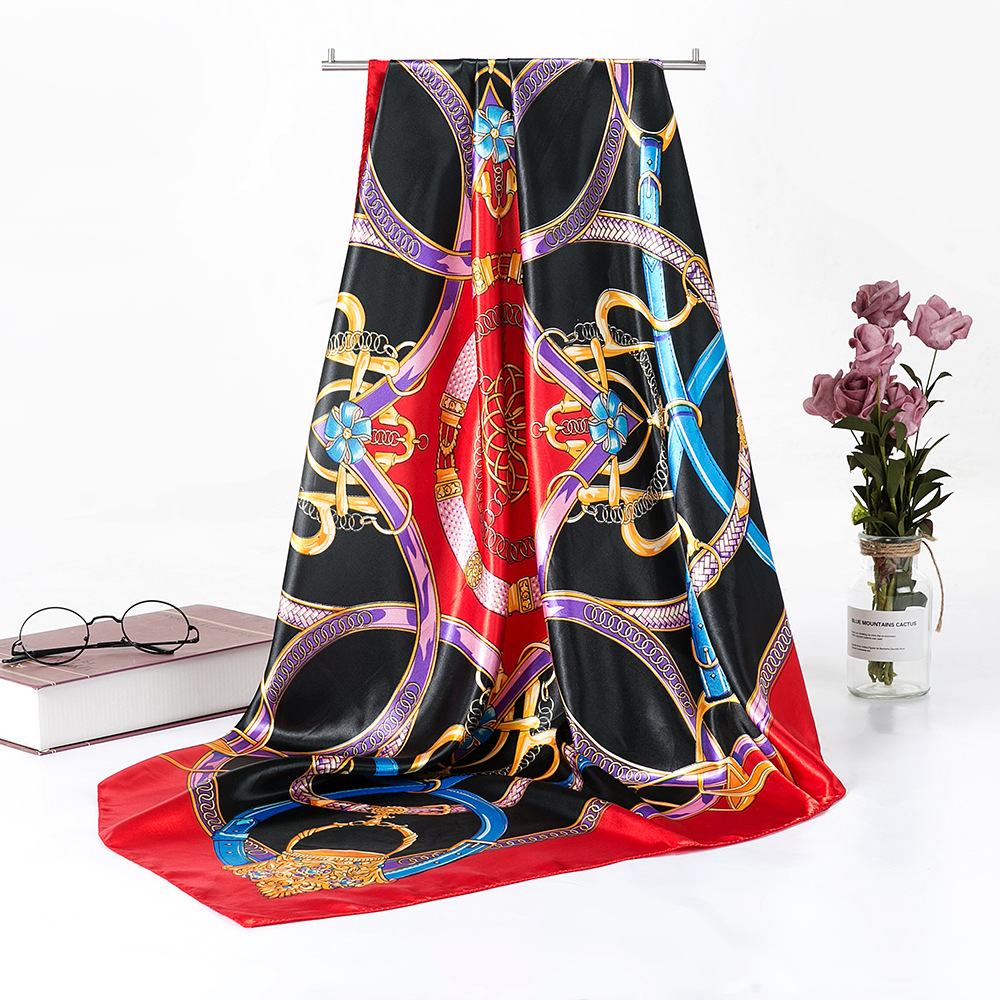 Women Chinese Style Navy Blue Pink Silk   Scarf   Shawl Winter Brand Square Satin   Scarves     Wraps   Spring Autumn Headscarves