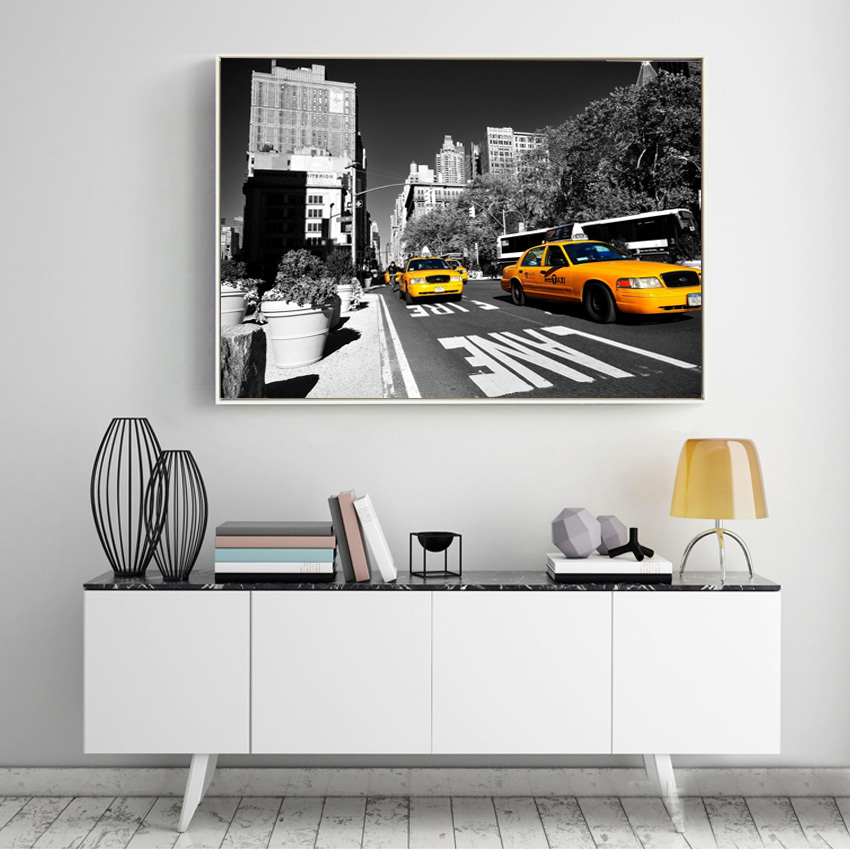 modern usa new york city taxi yellow fifth avenue car pictures canvas art home decor wall