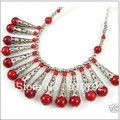 Frete grátis ******* exclusivo tibete jóias red Coral colar 18 ''