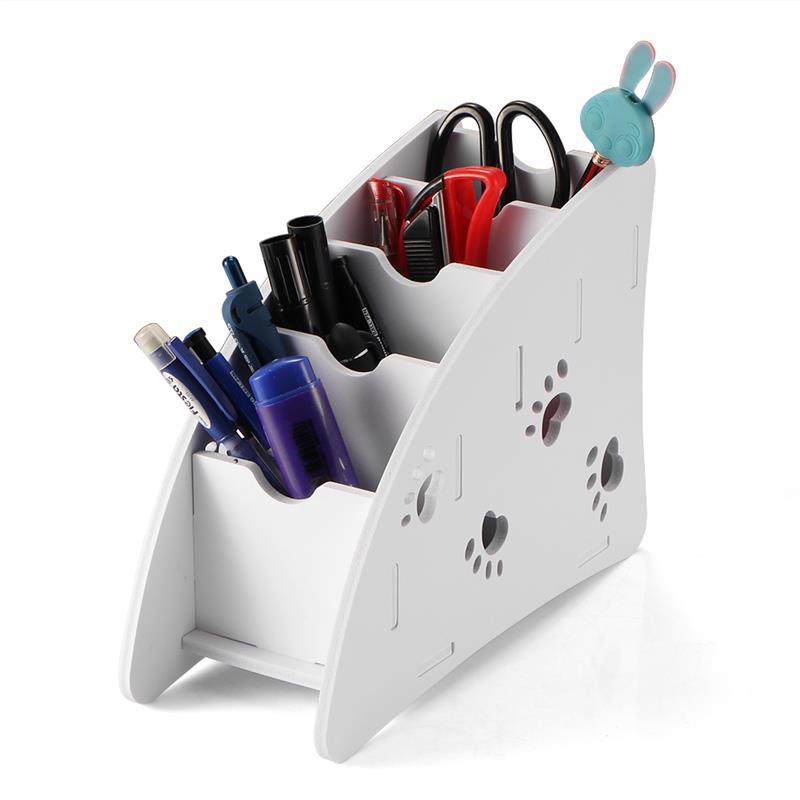 Eco-friendly Remote Control Holder Plastic Wood Eco-friendly Desk Organizer Box for Living Room Bedroom