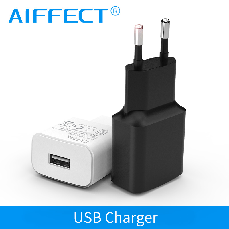 AIFFECT 5V 1A 2A 5W 10W Portable Smart Mobile Phone Charger USB Charger Travel Wall Charger Adapter  EU Plug For IPhone7 Samsung