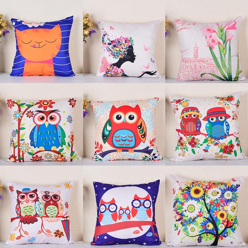 Pillow Case Cover Cute  Cartoon Owl Cotton Pillowcase