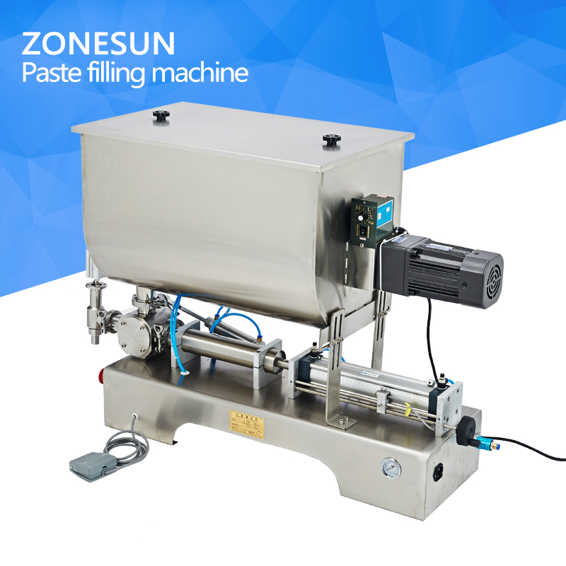 Chili sauce filling machine,sauce quantitative Filler Machinery,Pneumatic slurry mixing Filling machine filling head of filling machine filling device nozzle pneumatic cylinder filler spare part of pneumatic filling machine