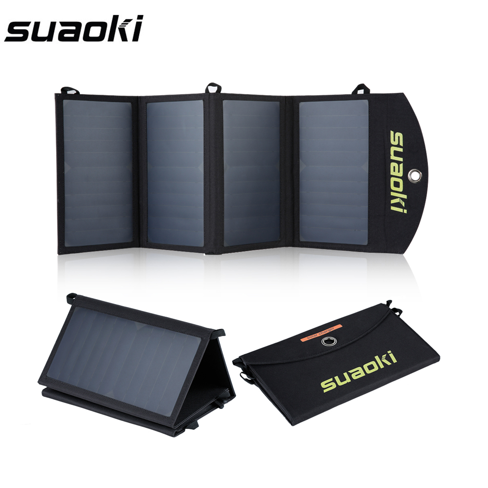 Suaoki 25W Foldable Solar Cells Portabl Solar Panels Folding Waterproof Solar Panel Charger Power Bank for Phone Battery Charger 2018 sunpower 21w solar panels portable folding foldable waterproof solar panel charger power bank for phone battery charger