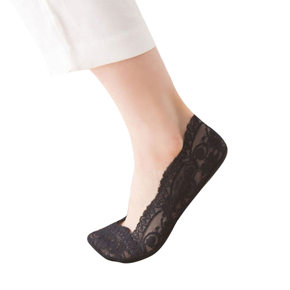 2019 NEW Fashion Womens Cotton Blend Lace Antiskid Invisible Low Cut Socks Toe Ankle Sock Free Ship T4