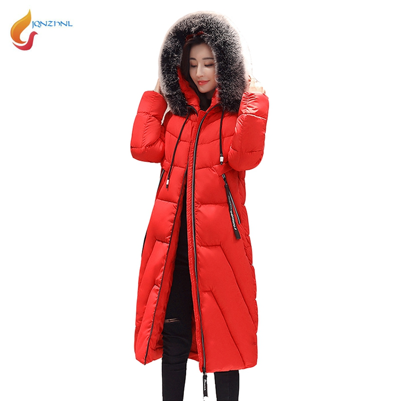 JQNZHNL 2017 Winter Coats Women Medium Long Casual Down Parkas Big Fur Hooded Loose Thicken Down Cotton-padded Jacket Coats L873 large size hooded jacket women winter coats 2018 loose medium long down cotton jacket women parkas warm big fur collar outerwear