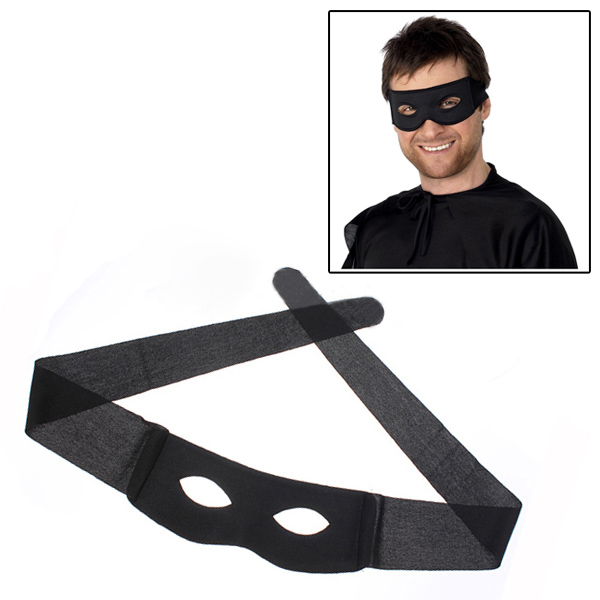Eye Mask Costume Highwayman Robber Fancy Dress Black Zorro Bandit Thief UK