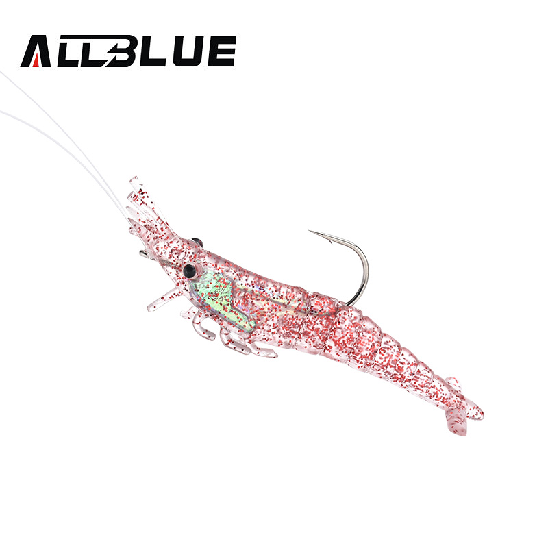 ALLBLUE 90mm/9.8g Soft Shrimp Lures Soft Baits Silicone Shrimp Crayfish Hooks 4pcs/lot 3 Colors Fishing Lures Tackle peche lifelike shrimp style soft pvc fishing baits w hook yellow size l 3 pack