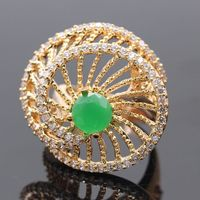 Beautiful Simple Rotate Champagne Gold Color AAA CZ Imitation Emerald Ring