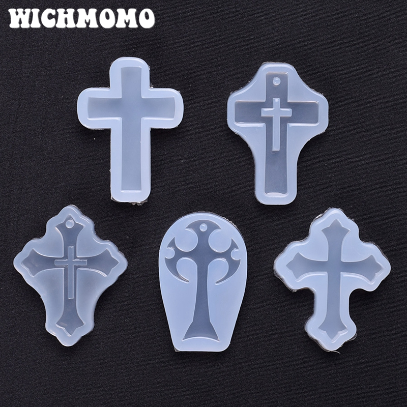 New 1PCS Cross Shape Charms Craft DIY Transparent UV Resin Liquid Silicone Combination Molds For Earring Necklace Making Jewelry
