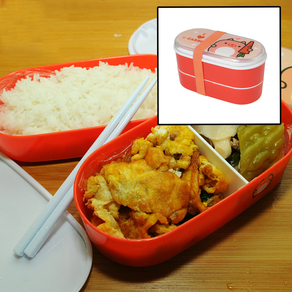 2Pcs Plastic Food Container With Cutlery Compartment