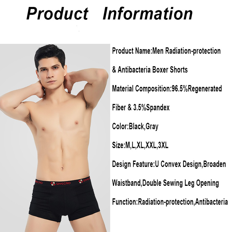 Men Underwear Radiation Protection Boxers Silver Fiber Anti-electromagnetic Radiation Shielding Men Boxer Shorts Male Panties