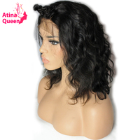 Atina Queen 180 Density Short Bob Lace Front Wigs For Black Women Pre Plucked with Baby Hair Glueless Remy Human Hair Body Wave