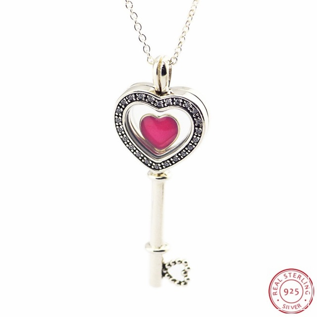cbb7d7e18 925 Sterling Silver 80cm Floating Locket Heart Key Necklaces Pendants Clear  CZ for Women Jewelry Valentine's Day Gift FLN053-13