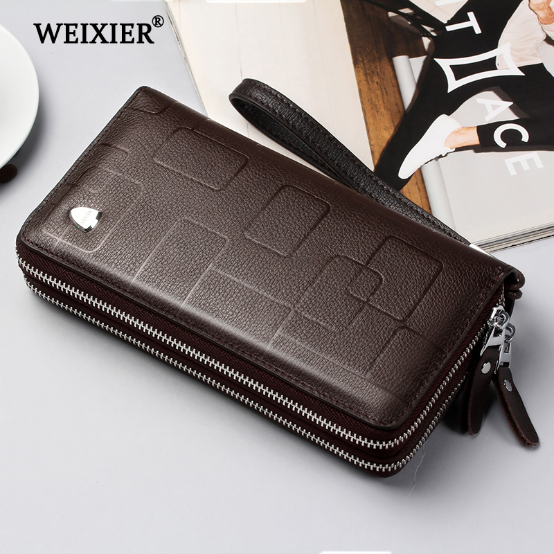 WEIXIER New Genuine Leather Clutch Cellphone Long Wallet Men's Simple Multifunctional Cow Leather Zipper Money Business bag