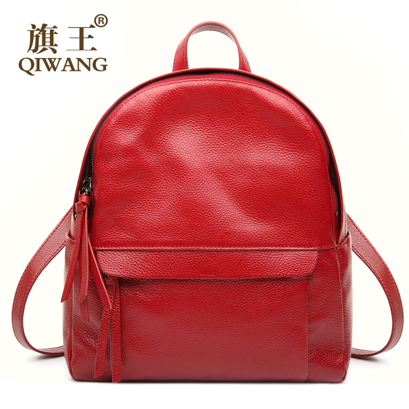 Qiwang New Burgundy Genuine Leather Backpack Women Backpacks Solid Vintage School Bags for Girls Hot Fashion Lady Bag